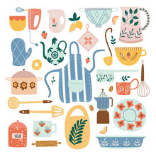 Set Of Ceramic Kitchen Utensils And Tools In Flat Cartoon Style