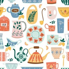 Kitchen Seamless Pattern Of Ce...
