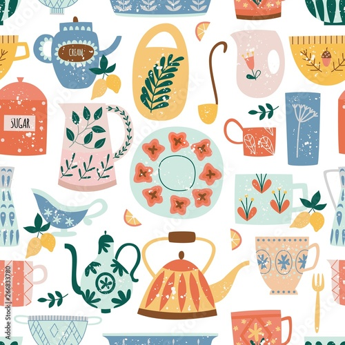 Carta da parati Kitchen seamless pattern of ceramic tableware flat cartoon style