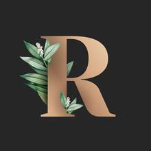 Botanical Font Letter R