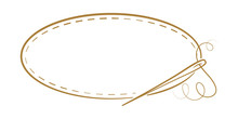 Vector Vintage Horizontal Oval Frame With Sewing Needle