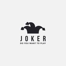 Minimalist Joker / Jester Hat Logo Icon Vector Template On White Background