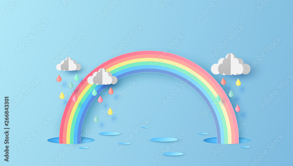 Fototapety, obrazy: Abstract Rainbow in the rainy season. Paper art design for clouds and rainbow in rain season. paper cut and craft design. vector, illustration.