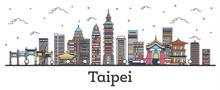Outline Taipei Taiwan City Skyline With Color Buildings Isolated On White.