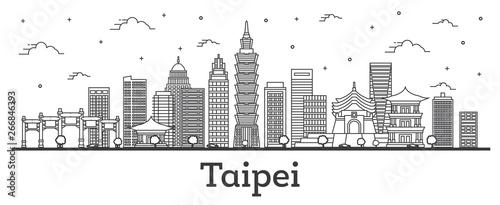 Fototapeta premium Zarys panoramę miasta Tajpej Tajwan z nowoczesnych budynków na białym tle.