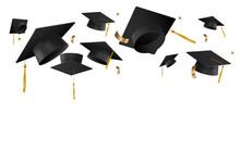Graduation Caps In The Air Vec...