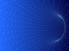 Wireframed Hole. Vector Abstract Digital Background. 3D Tunnel Grid. Wireframe 3D Surface Tunnel. Grid Texture