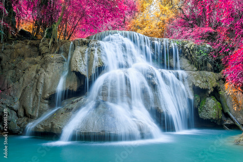 Photo Stands Khaki Amazing in nature, beautiful waterfall at colorful autumn forest in fall season