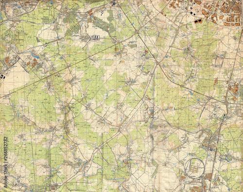 Soviet topographic military map of WW2