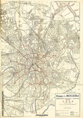 Obraz na plátně Moscow 1929 map