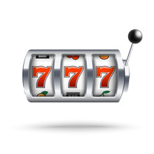 Silver Slot Machine With Lucky Three Sevens Jackpot In Realistic Style Isolated On White Background.