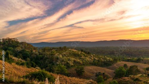 Printed kitchen splashbacks Coast View Landscapes nature of hills in sunset, mountains beautiful in Nakhon Ratchasima, Thailand