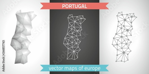 Portugal set of grey and silver mosaic 3d polygonal maps Wallpaper Mural