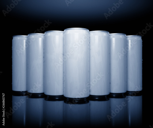 a row of white energy drinks