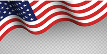 Blue And Red Fabric USA Flag On Transparent Background. Happy Flag Day, Independence Day, American Memorial Day.