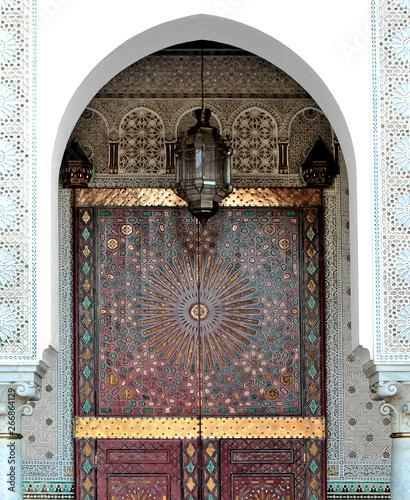 Wall Murals Nepal Ornamented door of a Mosque, Casablanca, Morocco
