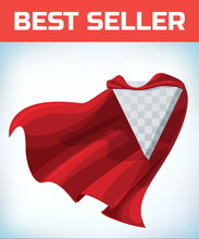Red Hero Cape. Super Cloak. Red Satin Fabric Flying. Masquerade Costume. Female Super Power. Equality Woman. Woman Power. Power Concept. Leadership Sign. Superhero Symbol. Manager Leader