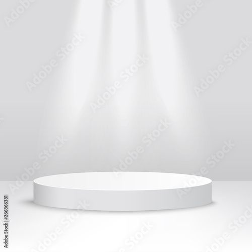 Obraz White stage platform lit from above, competition podium for award ceremony or product display - fototapety do salonu