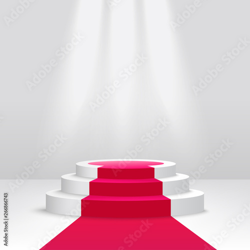 Obraz na plátně Podium or pedestal with spotlight scene 3d vector isolated on white background