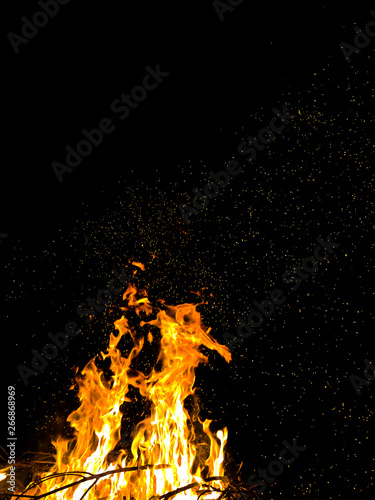 bright wild sparks of a burning campfire jumping on a black background at night
