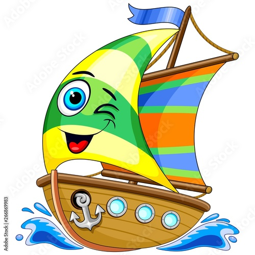 Garden Poster Draw Sailing Boat Cute Cartoon Character Vector Illustration