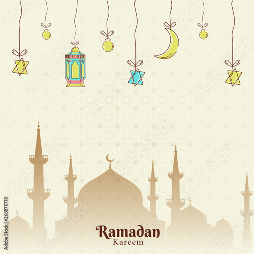 Flat style poster or template design with hanging lanterns, crescent