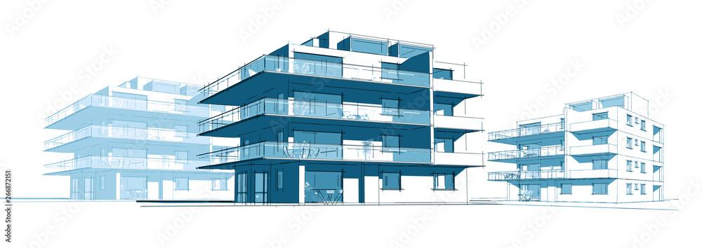 Fototapeta Projet d'immeuble en construction