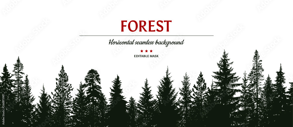 Fototapety, obrazy: Abstract background. Forest wilderness landscape. Horizontal seamless pattern.  Template for your design works. Hand drawn vector illustration.