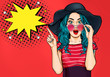 Pop Art Woman surprised in hat and glasses showing product .Beautiful girl with curly hair pointing to on bubble . Presenting your product. Expressive facial expressions