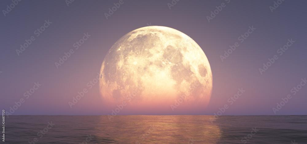 Fototapeta full moon at night abstract