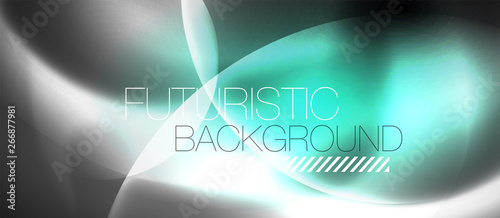 Shiny neon color light with circles abstract background