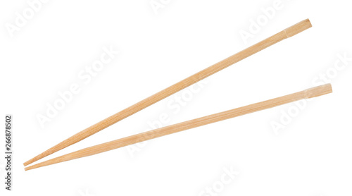 Photo disposable beech wooden chopsticks isolated