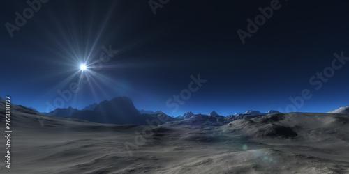 Montage in der Fensternische Blaue Nacht mountain plateau abstract landscape panorama