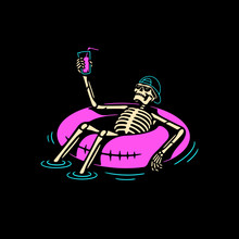 SKELETON IN CAP CHILLING WITH ...