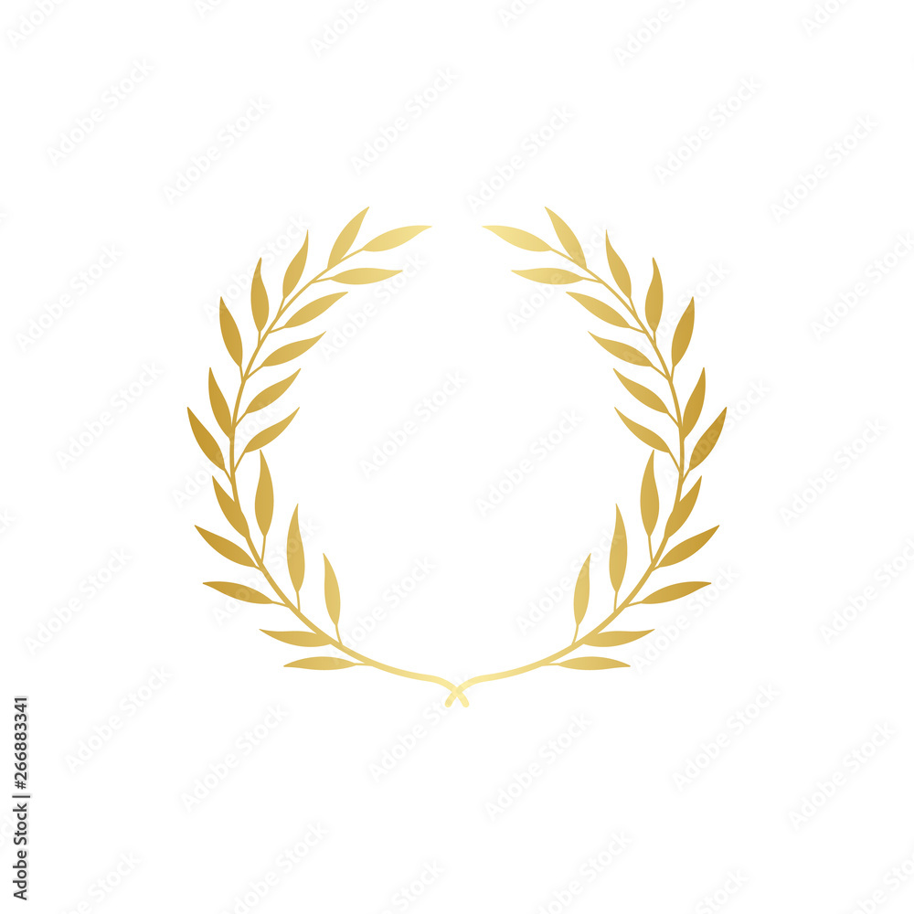 Fototapeta Golden Greek wreath of laurel or olive branches vector isolated on background.
