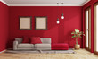 canvas print picture - Red living room with modern sofa