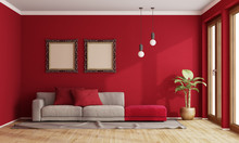 Red Living Room With Modern Sofa