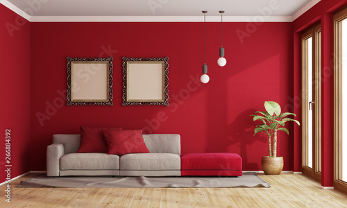 canvas print motiv - archideaphoto : Red living room with modern sofa