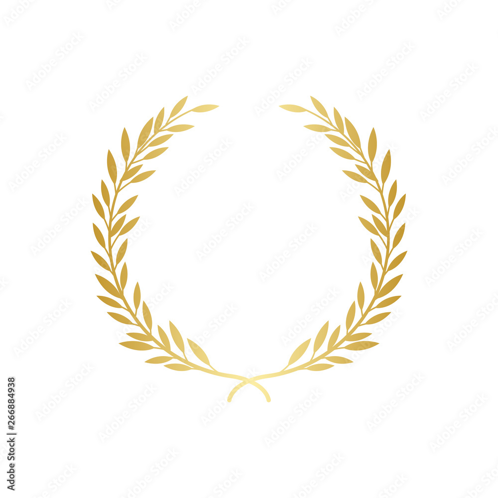 Fototapeta Golden laurel or olive greek wreath vector illustration isolated on white.