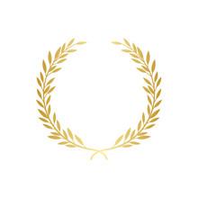 Golden Laurel Or Olive Greek Wreath Vector Illustration Isolated On White.