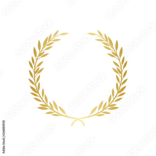 Golden laurel or olive greek wreath vector illustration isolated on white Canvas Print