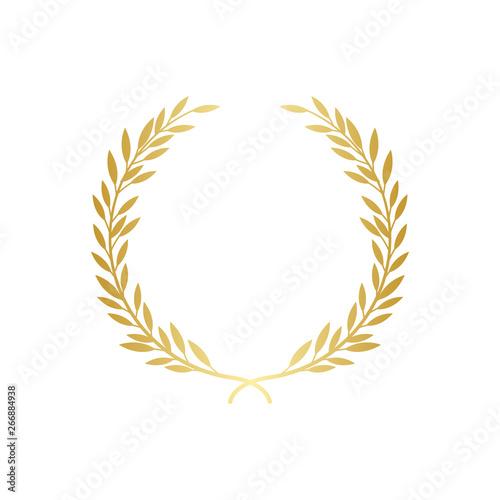 Golden laurel or olive greek wreath vector illustration isolated on white Fototapet