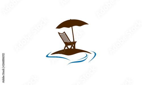 Obraz na plátně chair in beach vector