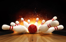Bowling Strike Hit With Fire E...