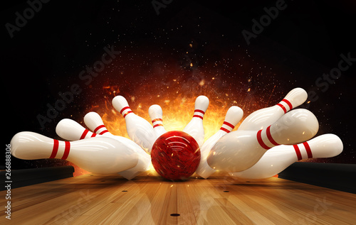 Fototapeta Bowling strike hit with fire explosion