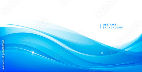 Foto auf Gartenposter Abstrakte Welle Abstract vector blue wavy background. Graphic design template for brochure, website, mobile app, leaflet. Water, stream abstract