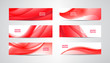 Vector set of wavy banners, red web headers. Silk vibrant abstract background, horizontal orientation