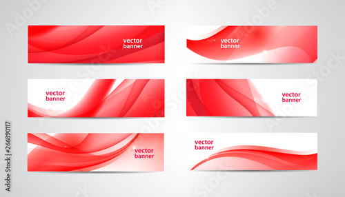 Fototapeta Vector set of wavy banners, red web headers. Silk vibrant abstract background, horizontal orientation obraz