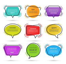 Quote Speech Bubble, Text Box, Citation Frame, Colorful Message Banner Isolated On White Background. Vector Illustration