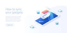 Smartphone And Smart Watch Synchronization Concept In Isometric Vector Illustration. IOT Wireless Technology. Internet Of Things Web Banner Layout Template.